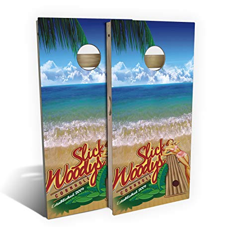 - Slick Woody's Bikini Surf Cornhole Set with 8 Cornhole Bags, Baltic Birch Plywood Tops for The Smoothest Flattest Playing Surface, Retractable Legs and Back Bounce Brace