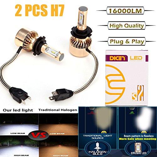 LED Headlight Bulbs H7, 16000 Lumen 6000K White Super Bright High Beam / Low Beam / Fog Lights / Daytime Running Light Replacement Bulbs Kit (Package of 2)