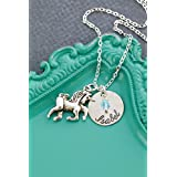 Personalized Unicorn Necklace – DII AAA - Little Girls Gift – Fantasy – 5/8 Inch 15MM Disc – Customize Name – Choose Birthstone Color – Fast 1 Day Shipping