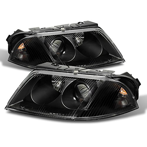 ACANII - For Black 01-05 VW Passat Projector Headlights Pair Driver + Passenger Side Replacement 2001-2005
