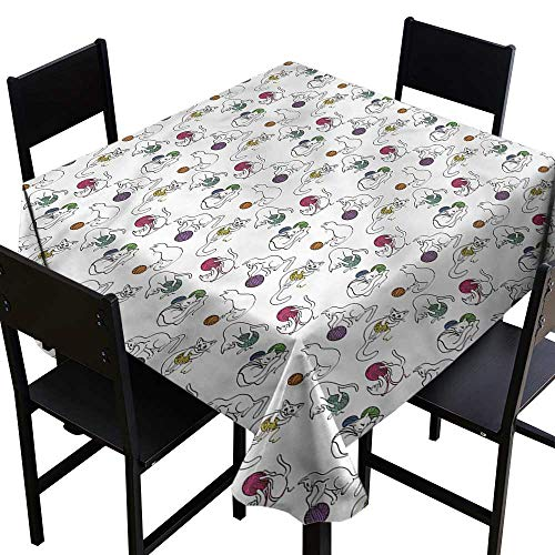 home1love Cat Washable Square Tablecloth Colorful Yarn Balls Pets Resistant/Spill-Proof/Waterproof Table Cover 70 x 70 Inch
