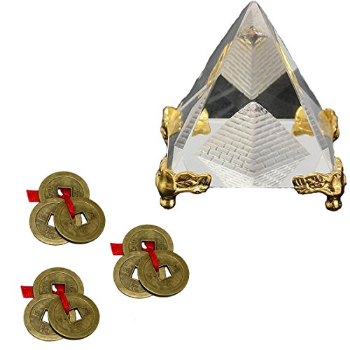 (Divya Mantra Feng Shui Crystal Glass 4 cm Pyramid with Golden Stand for Spiritual Healing, Vastu Correction and Balancing and Chinese Antique Fortune Set of 3 Brown I-Ching Coin Ornaments Good Luck)