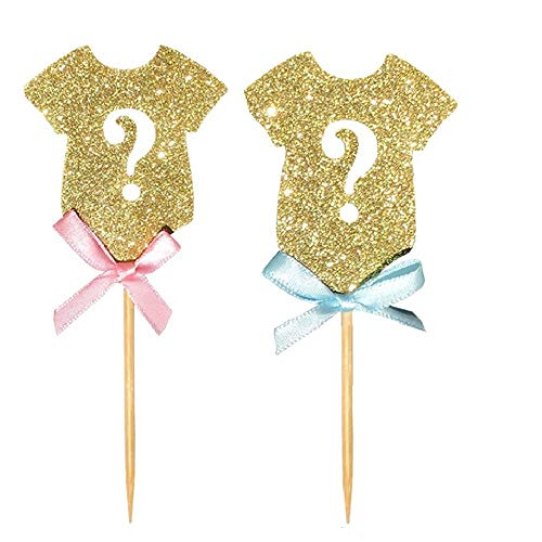 Glitter Gender Reveal Cupcake Toppers24-pack, Gender Reveal for Baby Shower Kids Birthday Party Cake Decoration Supplies]()