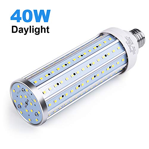 40 Watt LED Corn Bulb,4000 Lumen 280 Watt Equivalent 6000K,Cool Daylight White LED Street & Area Light,E26/E27 Medium Base,for Outdoor Garage Factory Warehouse High Bay Barn Backyard,Super Bright