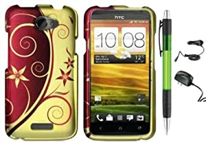 Quaroth Gold Brown Flower Vine Swirl Design Protector Hard Cover Case for HTC One X (AT&T) + Luxmo Brand Travel (Wall)...