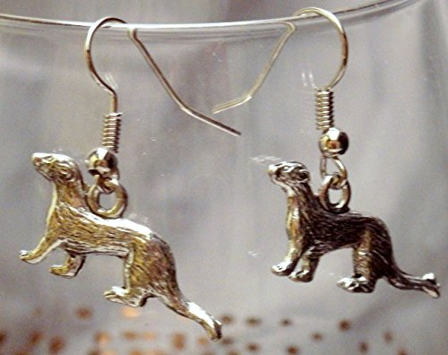 Silver tone pewter charm ferret earrings on steel French wires, (125a)
