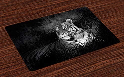 Ambesonne Black and White Place Mats Set of 4, Bengal Tiger Lying in The Grass Africa Savannah Monochrome Image Print, Washable Fabric Placemats for Dining Room Kitchen Table Decor, White and Black