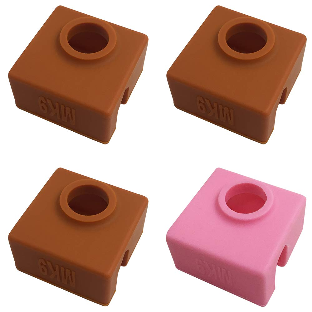 4 Pcs 3D Printer Socks Compatible MK7 MK8 MK9 Makerbot Heater Block, AFUNTA High Temperature Resistance Silicone Protection Case for 3D Printer Extruder – 3 Coffee & 1 Pink AF-MK9-cover-4