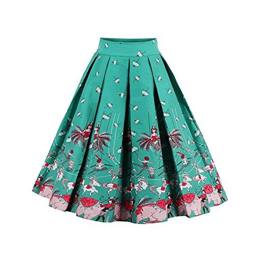 ZAFUL Mujer Vintage Falda Cintura Alta Grandes Dobladillo Faldas Plisadas Retro Impresión Vestidos de Fiesta Noche A-Line Hasta La Rodilla Flamenco S-2XL Turquesa