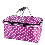zhbotaolang Insulated Picnic Basket Waterproof Collapsible Picnic Bag 31L (Pink)