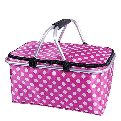 zhbotaolang Insulated Picnic Basket Waterproof Collapsible Picnic Bag 31L (Pink) by zhbotaolang