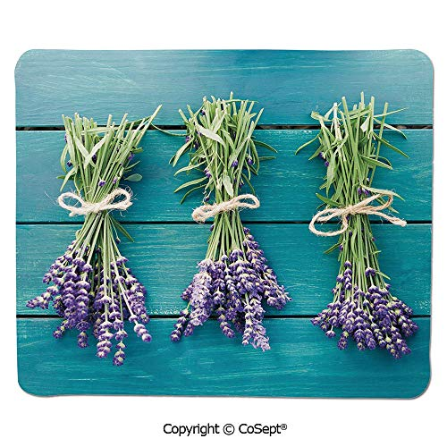 Printable Spa - Ergonomic Mouse pad,Fresh Lavender Bouquets on Blue Wooden Planks Rustic Relaxing Spa Decorative,for Laptop,Computer & PC (7.87