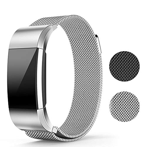 Runme Metal Bands for Fitbit Charge 2, Magnet Lock Replacement Bands, ()