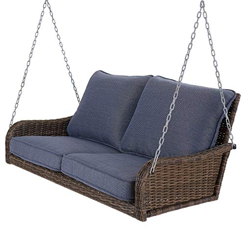 Beautiful, Comfy Very Attractive Tough Easy Care UV Protected Fade Resistant All Weather Reversible Brookhaven Outdoor Wicker Porch Swing with Blue Cushions – Chase The Cares of The Day Away