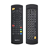 MyGica KR-303 Gyroscope Air Mouse Control with Full QWERTY Backlit Keyboard | Built in Microphone for Voice Control & Rechargeable Battery