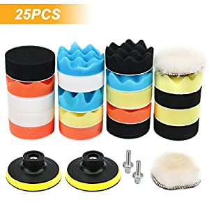 VERONES Car Foam Drill Polishing Pad Kit 25 PCS 3 Inch/80mm Buffing Pads, Waxing Polishing Sealing Glaze