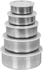 Home Basics Brushed Stainless Steel Food Storage Container Set with Plastic Lids (Silver)