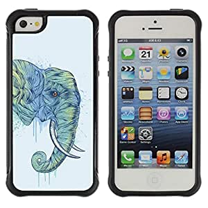 SHIMIN CAO@ Elephant Art Magnificent Africa Savannah Painting Rugged Hybrid Armor Slim Protection Case Cover Shell For iphone 5S CASE Cover ,iphone 5 5S case,iphone5S plus cover ,Cases for iphone 5 5S