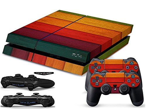 PlayStation 4 Protector Sticker Skin Decal For PS4 Console, 2 Controllers And 2 Light Bar Sensor Decals - Wood Grain Flavors - 306