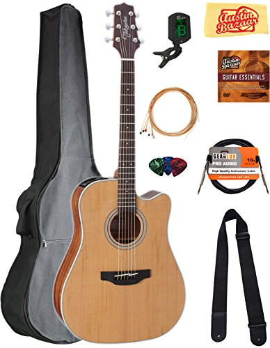 Takamine GD20CE Dreadnought Cutaway Acoustic-Electric Guitar - Natural Satin Bundle with Gig Bag, Cable, Tuner, Strap, Strings, Picks, Austin Bazaar Instructional DVD, and Polishing Cloth