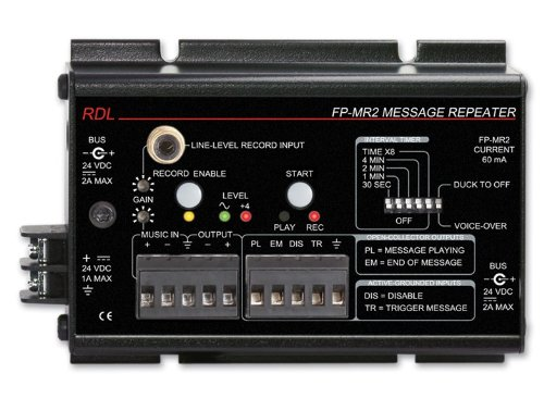 RDL FP-MR2 Message Repeater, 20 Hz to 100 kHz Frequency Response, Automatic Voice Over - Power Supply Included by RDL