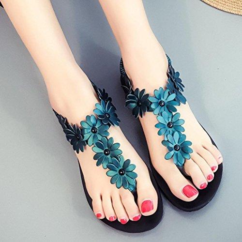 Transer® Damen Mode Flach Sandalen Blume Peep-Toe Fesselriemen Grün Rot Weiß Sandalen (Bitte achten Sie auf die Größentabelle. Bitte eine Nummer größer bestellen. Vielen Dank!) Grün