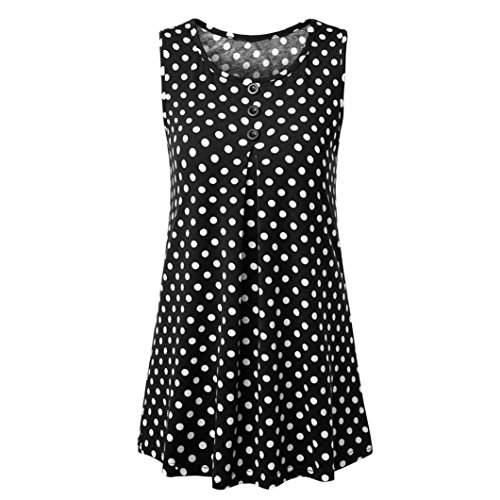 Owill Fashion Women's Sleeveless Tunic for Leggings Dot Print Button Tank Tops (XL, Black) (Dot Print Tunic Top)
