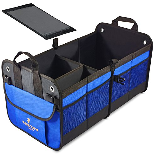 Feezen Car Trunk Organizer Best For Suv  Vehicle  Truck  Auto  Minivan  Home   Heavy Duty Durable Construction Non Skid Waterproof Bottom