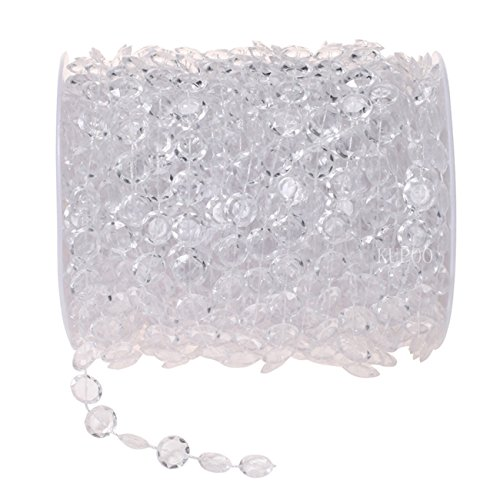 KUPOO 99FT Clear Crystal Like Beads String for Chandelier Curtains for Doorways Decoration 1 Roll (White) (Beads Clear Door)