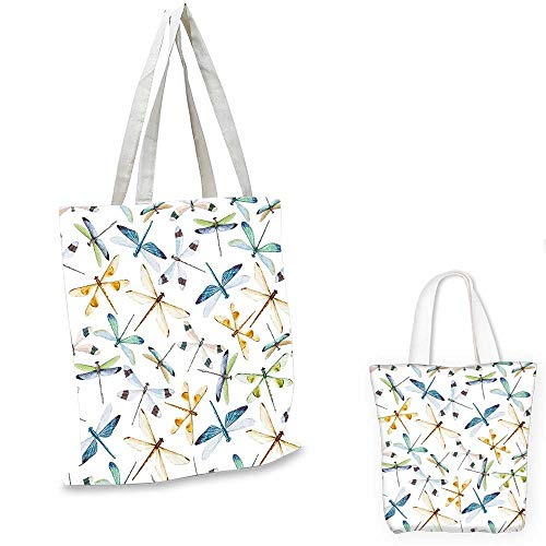 Dragonfly non woven shopping bag Moth Butterfly Like Bugs in Watercolor Print Modern Minimalist Design Art Print canvas beach bag Multicolor. 12