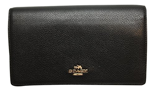 Coach Foldover Clutch Wallet Pebbled Leather Crossbody Bag Black F54002 by Coach