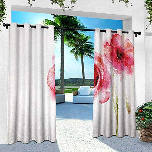 (Hengshu Flower, Outdoor Blackout Curtains,Spring Season Vivid Florals Red Poppies Watercolored Art Print, W84 x L84 Inch, Hot Pink Light Green and White)