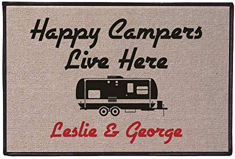 WHAT ON EARTH Personalized Happy Campers Doormat – Durable 100 Olefin Welcome Mat for Trailer or RV – 27 x 18
