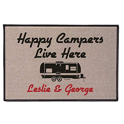 Olefin Mat - WHAT ON EARTH Personalized Happy Campers Doormat - Durable 100% Olefin Welcome Mat for Trailer or RV - 27