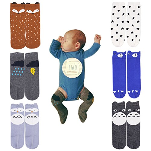 October Elf Unisex Baby Knee High Stockings Tube Socks 6 Pairs (S(0-1 Year), 5)
