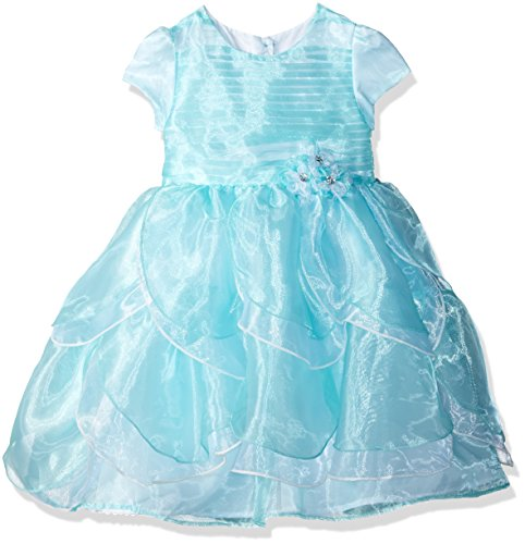 Nannette Girls' Toddler Short Sleeved Organza Dress with Tucked Bodice and Tiered Petals, Mint, 2T ()