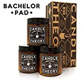 CANDLETHEORY Scented Man Candle Gift Set with Crackling Wood Wicks - 3 Scents - Warm Tobacco, Smoked Suede, and Fresh Shave - Candles for Men - Man Cave Stuff