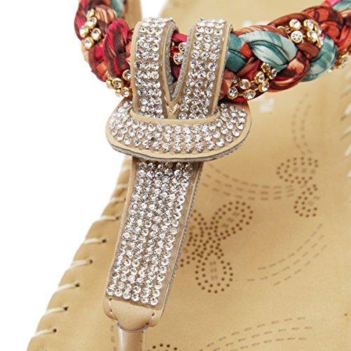 f7ebefa8758fb1 Women s Summer Bohemian Glitter T-Strap Vacation Flat Thong Sandals ...