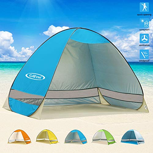 - G4Free Outdoor Automatic Pop up Instant Portable Cabana Beach Tent 2-3 Person Camping Fishing Hiking Picnicing Anti UV Beach Tent Beach Shelter, Sets up in Seconds(Blue)