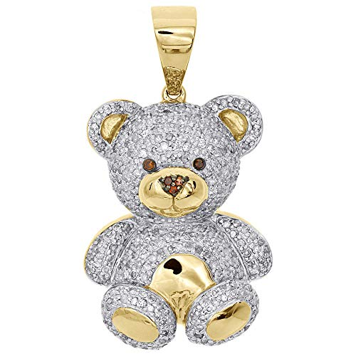 10K Yellow Gold Genuine Diamond Teddy Bear Pendant 1.40