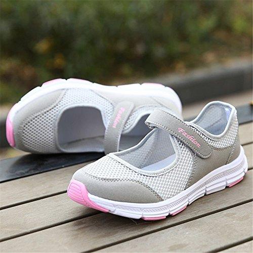 de verano tamaño Mujer cierre velcro de de transpirable gris zapatos Plus senderismo Ligero ys hy zapatillas 0Ax8vn