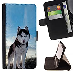 Momo Phone Case / Flip Funda de Cuero Case Cover - Happy Dog Husky;;;;;;;; - Apple Iphone 6