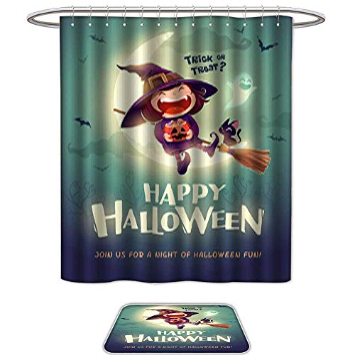 QianHe Set of 2 Shower Curtain and Mat SetHappy Halloween Halloween Little Witch Girl Kid in Halloween Costume Sits on The Moon Retro Vintage 1. 12pcs Metal Hook,Bath Mats