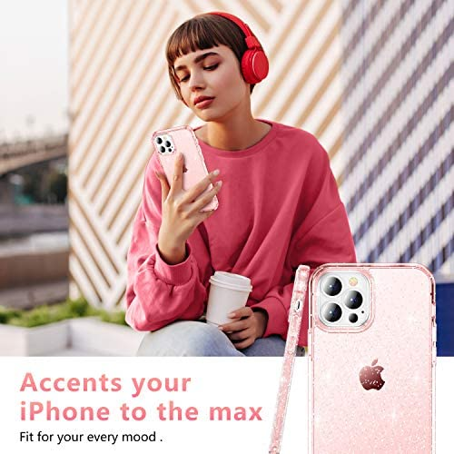 "CASEKOO Pink Glitter Compatible with iPhone 12 Pro Max Case, [Yellow Resistant] Bling Clear & Shockproof Protective Sparkle Phone Cover Thin Slim Case for Women & Girls (6.7"") 2020- Pink"