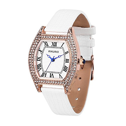 Women Ladies Wrist Watch Classic Waterproof Design with Alloy Case and Leather (Tonneau Case Watch)