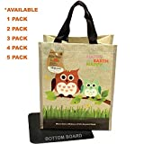 EcoJeannie Super Strong Laminated Mini Woven Reusable Shopping Tote Bag (Avail: Set of 1,2,3,4,5 Bags), Free Standing, Recycled Plastic w/Bottom Board & Reinforced Nylon Handle - WM0001 (1 Pack)