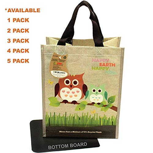 (EcoJeannie Super Strong Laminated Mini Woven Reusable Shopping Tote Bag (Avail: Set of 1,2,3,4,5 Bags), Free Standing, Recycled Plastic w/Bottom Board & Reinforced Nylon Handle - WM0001 (1 Pack))