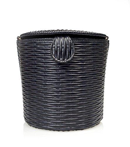 Chain Shoulder amp; Black Bag Straw effect Crossbody Belle dTqZwYd