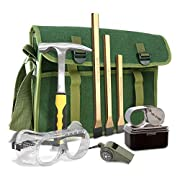 Rock Hounding & Gem Mining Geology Tool Kit (8-Piece Rock Prospecting Set) with Rock Pick Hammer, 3 Piece Digging Tools Chisel Set, Musette Bag, Compass & Whistle, Safety Goggles, and Jewelry Loupe