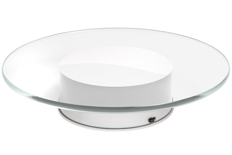 Lindner & Koch® - Assiette/Plateau Tournant Verre, 20cm diamètre, avec Moteur et Bloc d'alimentation, Blanc